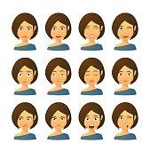 Female avatar expression set