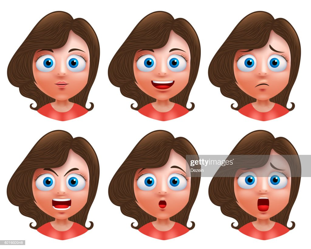 Female avatar vector character head with facial expressions