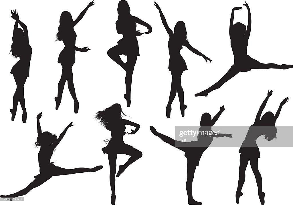 Female ballet dancing : Stock Illustration