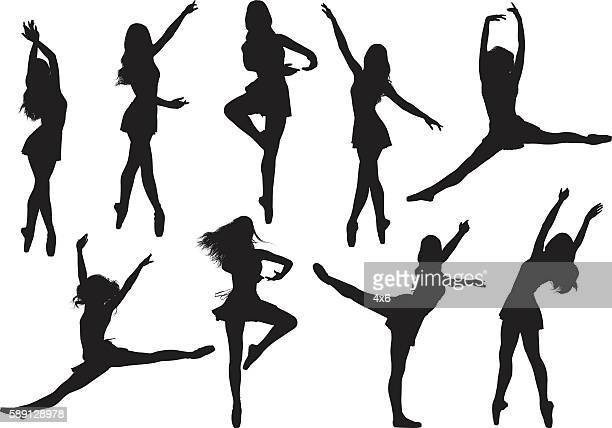 female ballet dancing - gymnastics stock illustrations, clip art, cartoons, & icons