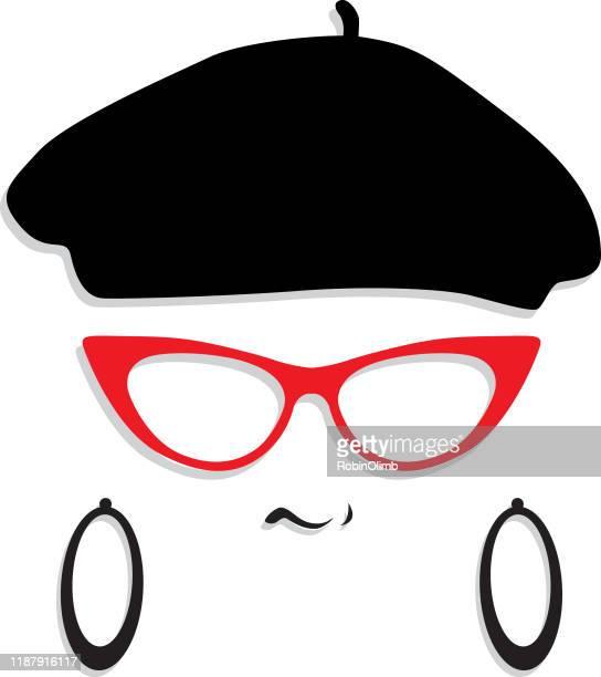 female beret hipster face - cat's eye glasses stock illustrations