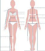 Female body in full length for measuring the size
