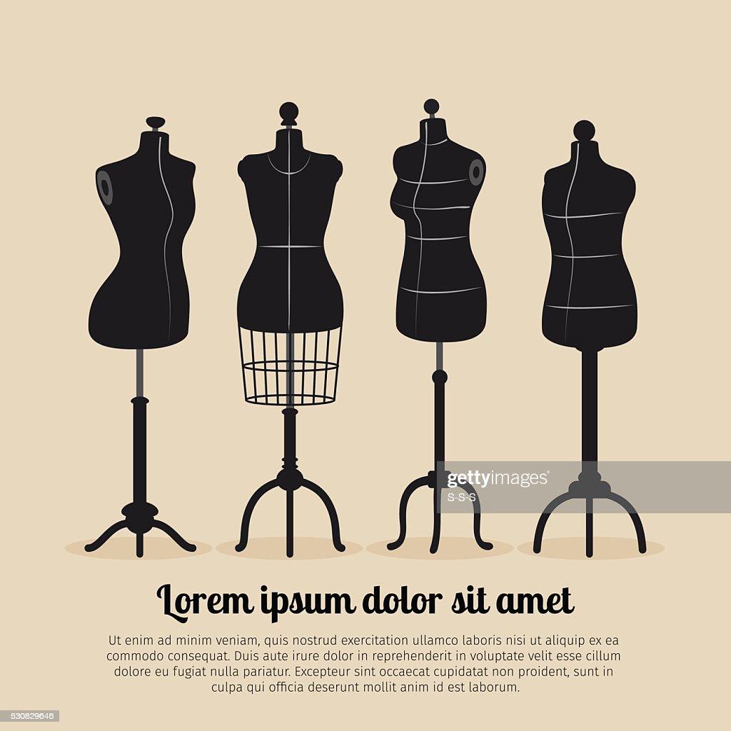 Female body vintage mannequin set