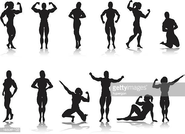 female bodybuilder silhouette collection - body building stock illustrations