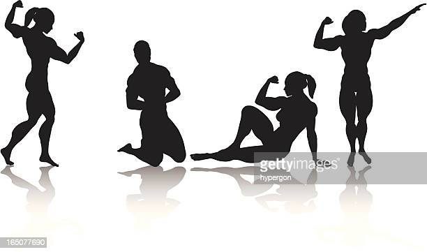 ilustraciones, imágenes clip art, dibujos animados e iconos de stock de hembra bodybuilder - entrenamiento con pesas