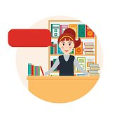 Female bookseller with speech bubble against shelves with books. Woman selling books at the bookstore or librarian at the library. Flat style vector illustration.