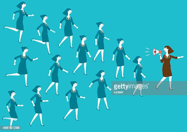 Female Business Team and Leader (Megaphone) | New Business Concept