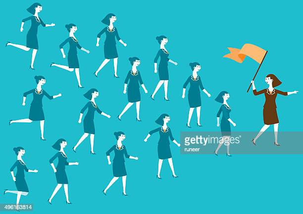 Female Business Team and Leader (Flag) | New Business Concept