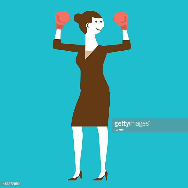Female Businesswoman with Boxing Gloves | New Business Concept