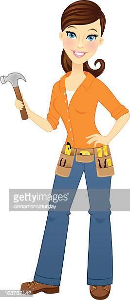 ilustrações, clipart, desenhos animados e ícones de feminino carpenter - cinto de ferramentas