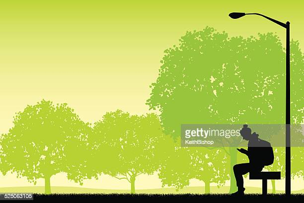 Female Cellphone User on Park Bench Background