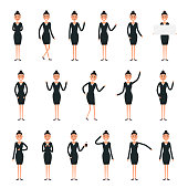 Female  character creation set.Businesswomen characters.Set of a girl in different poses.Characters for your project.Build your own design.Cartoon flat style infographic vector illustration
