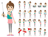 female charactor set. Presenting in various action.