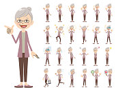 female charactor set. Various poses and emotions.