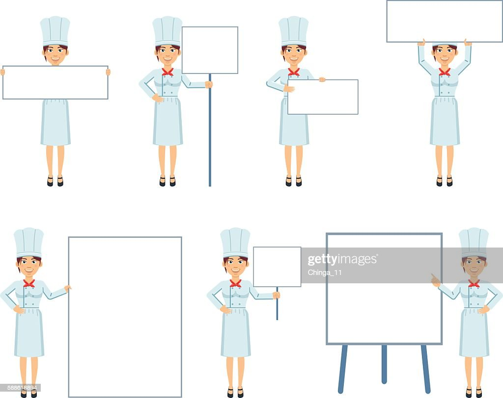 Female chef cook posing with different blank banners