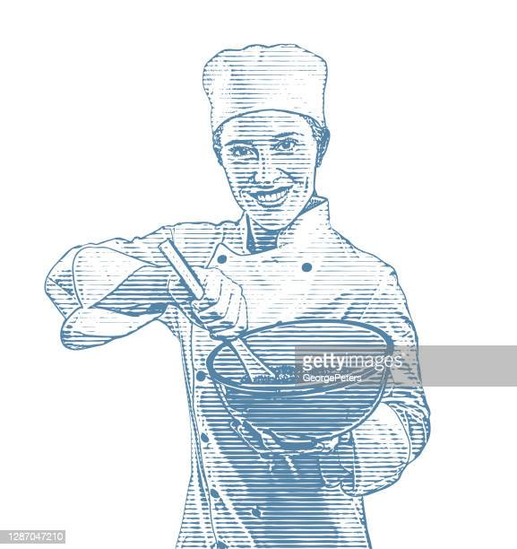 女性シェフ料理 - コック帽点のイラスト素材/クリップアート素材/マンガ素材/アイコン素材