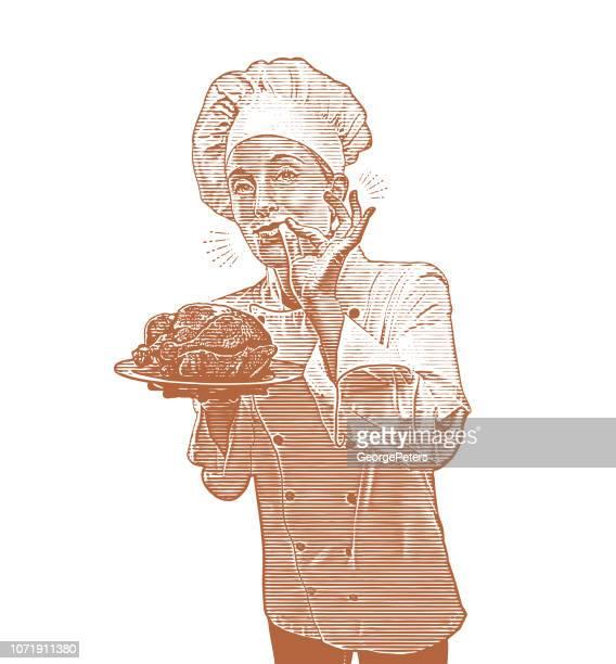 ilustraciones, imágenes clip art, dibujos animados e iconos de stock de chef femenina dando señal de mano bien - pollo asado