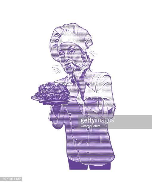Female chef giving okay hand sign