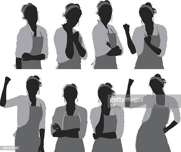 女性シェフ、 - エプロン点のイラスト素材/クリップアート素材/マンガ素材/アイコン素材