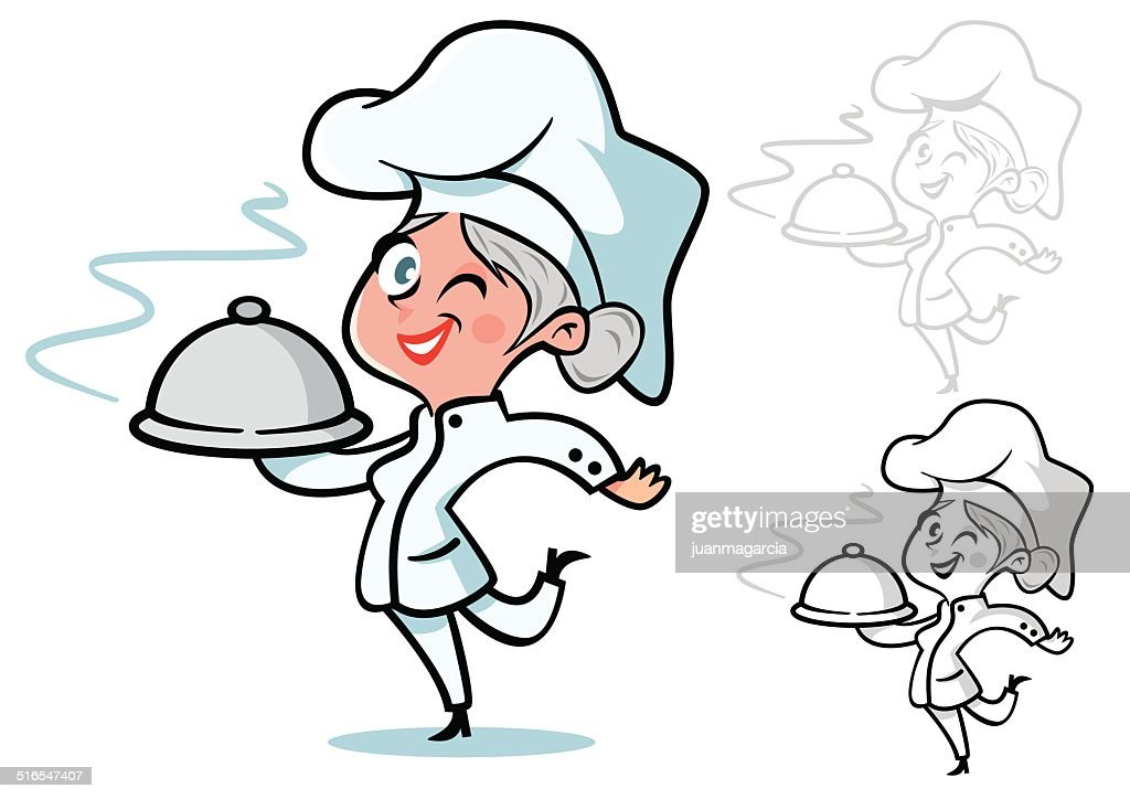 Female chef with grey hair