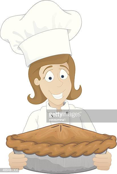 female chef with pie - baked stock illustrations, clip art, cartoons, & icons