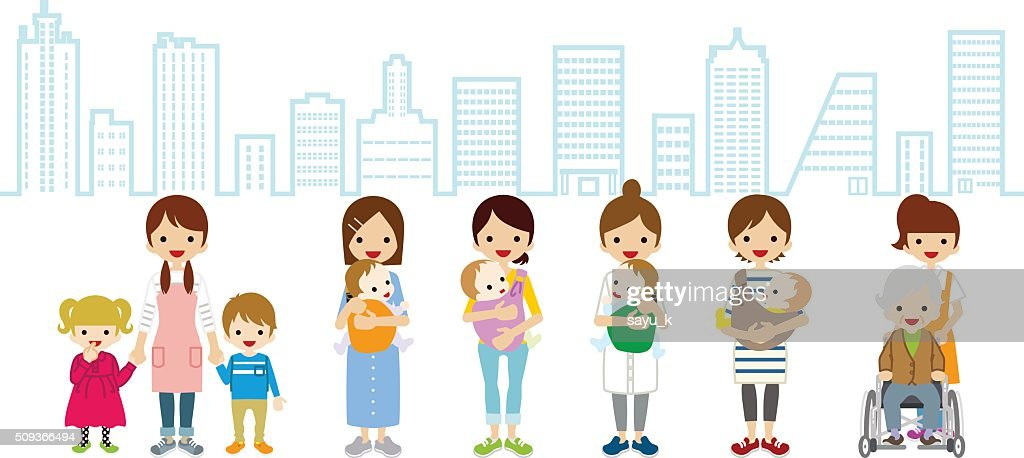 Female Child care and Caregiver - Cityscape Background