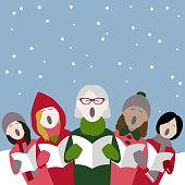female christmas carol singers