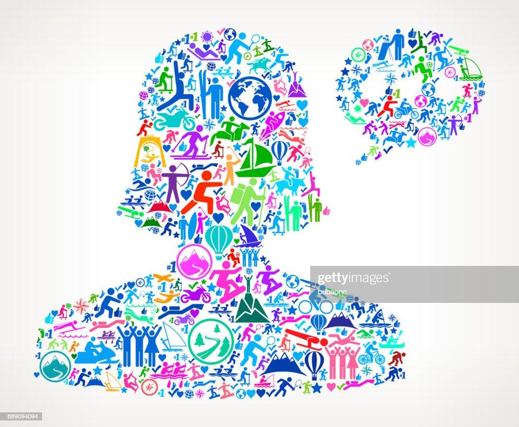 Female Communication Head  Active Lifestyle Vector Icon Pattern : Stock Illustration