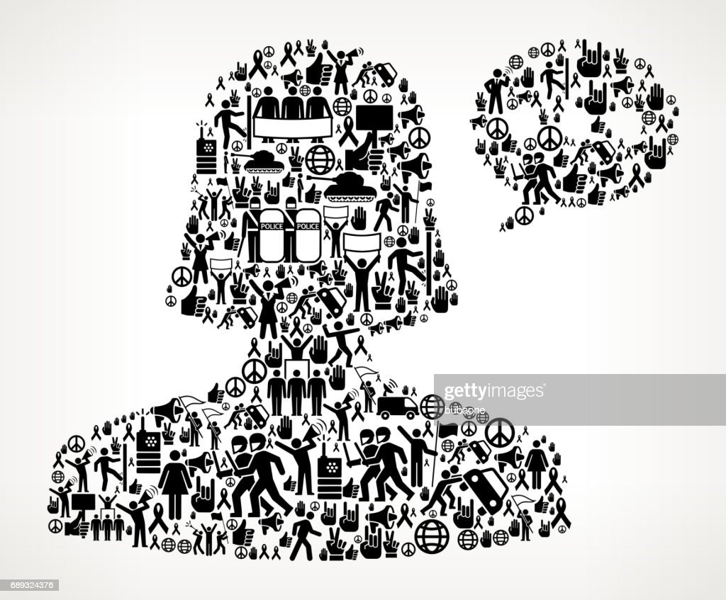 Female Communication Head  Protest and Civil Rights Vector Icon Background : Stock Illustration