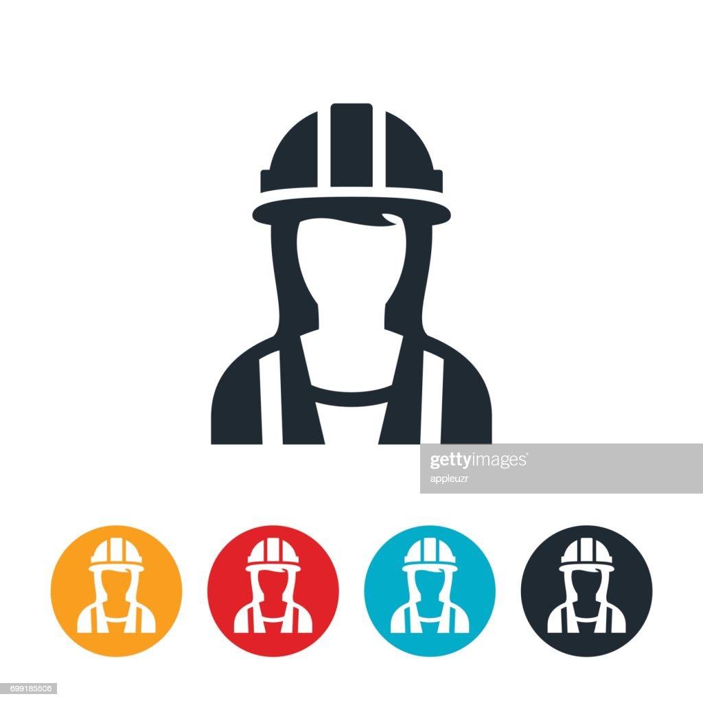 Female Construction Worker Icon : stock illustration