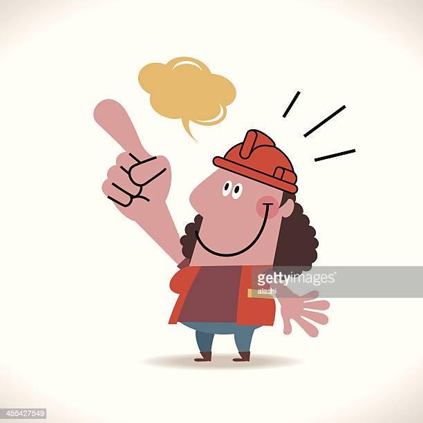 ilustraciones, imágenes clip art, dibujos animados e iconos de stock de mujer mostrando algo trabajador de la construcción - electricista