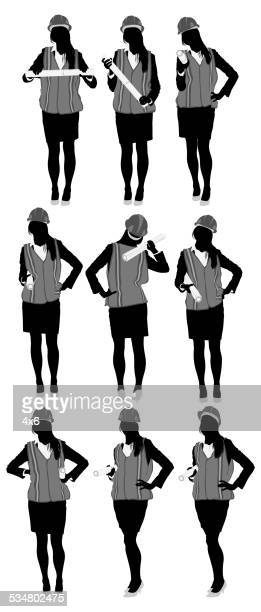 female constructor - females stock illustrations, clip art, cartoons, & icons