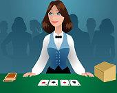 Female croupier in a casino