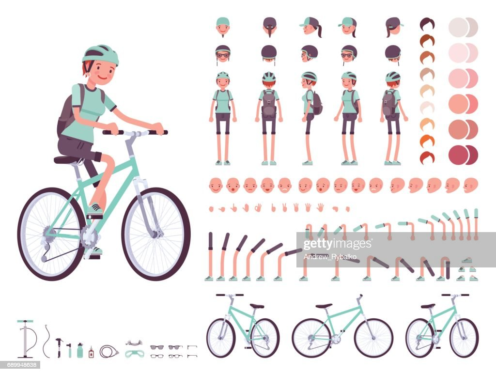 Female cyclist character creation set