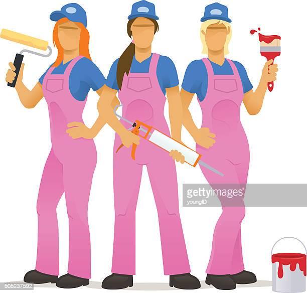 ilustraciones, imágenes clip art, dibujos animados e iconos de stock de hembra decorar equipo - bricolaje