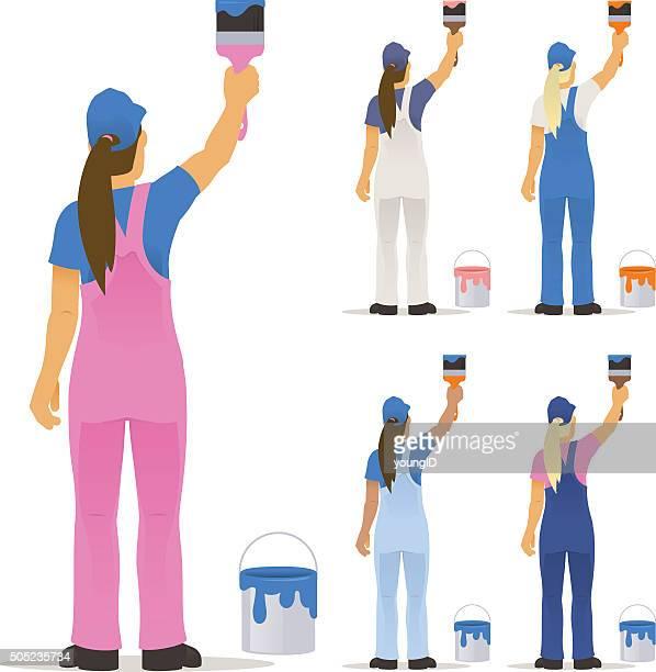 ilustraciones, imágenes clip art, dibujos animados e iconos de stock de decorador de pintar hembra - pintores de brocha gorda