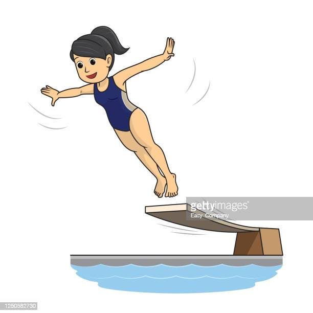 a female diving athlete spreading her hand to jump into the water in the water jumping competition - diving sport stock illustrations