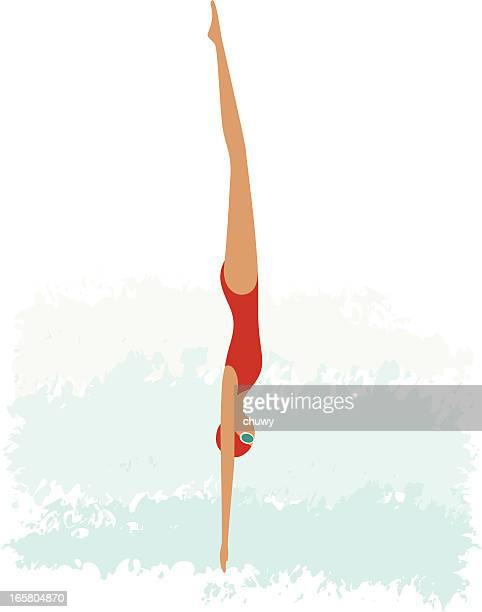 female diving - diving stock illustrations