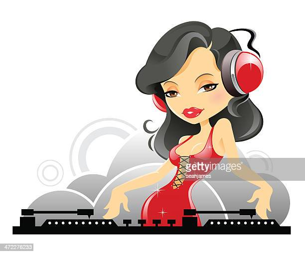 Female DJ at Turntable and Wearing Headphone