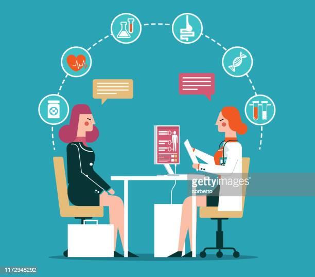 女性医師と患者 - 女医点のイラスト素材/クリップアート素材/マンガ素材/アイコン素材