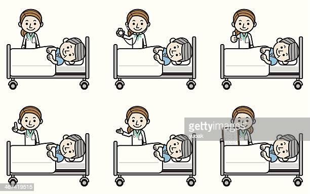 Female doctor examining senior male patient