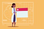 Female Doctor Holding Empty Diagnosis Banner Medical Clinics Worker African American Hospital