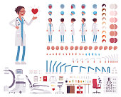 Female doctor in white clinic uniform character creation set
