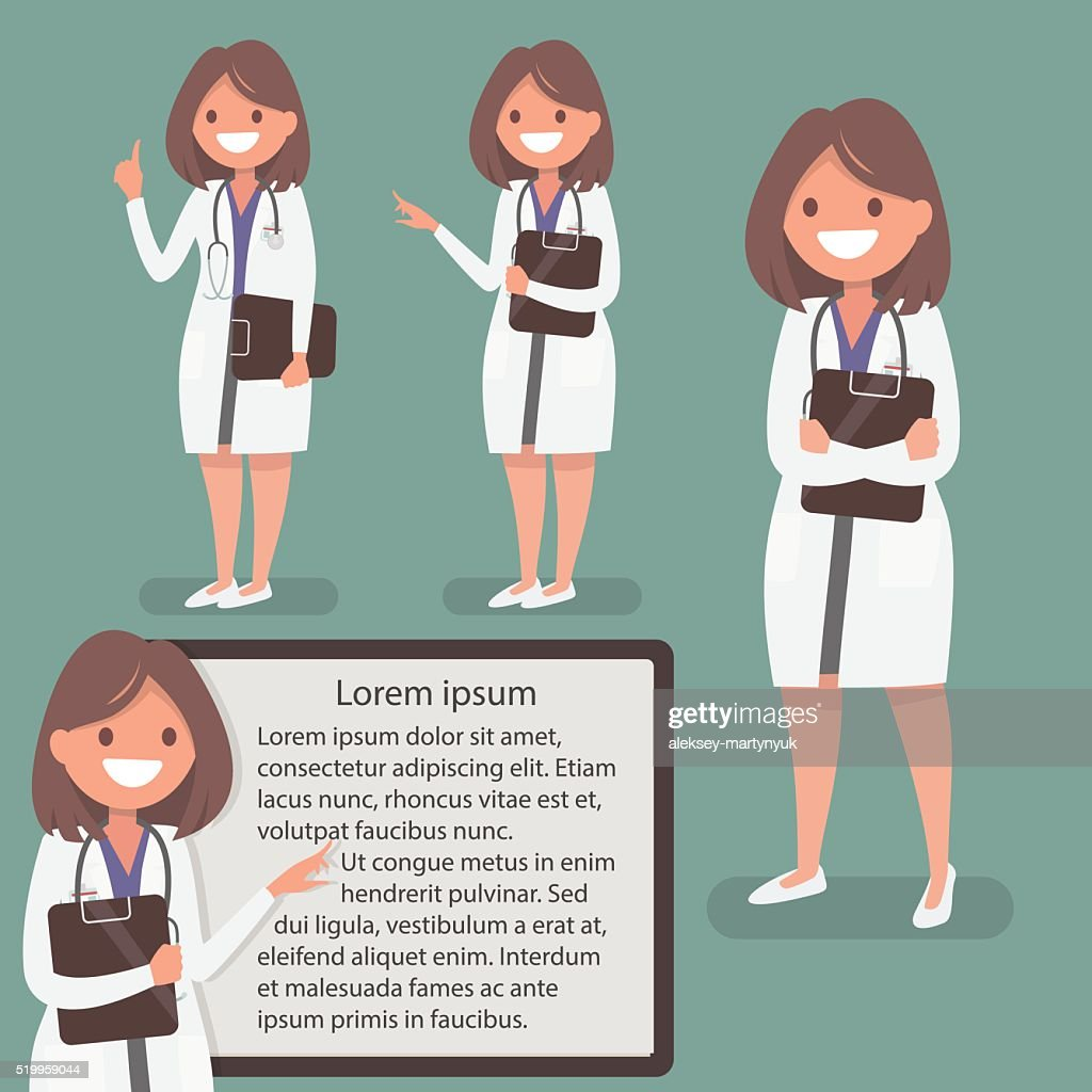 Female doctor presented in different actions. The character  for posters