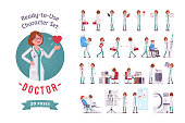 Female Doctor ready-to-use character set