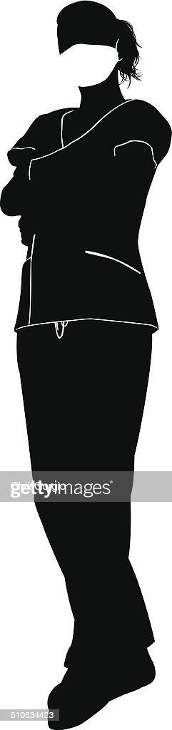 Female doctor surgeon silhouette