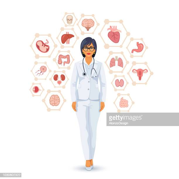 female doctor - neurosurgery stock illustrations, clip art, cartoons, & icons