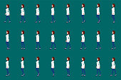 Female doctor walk cycle animation sprites