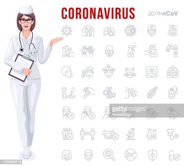 female doctor with covid-19 outbreak prevention icon set - covering stock illustrations
