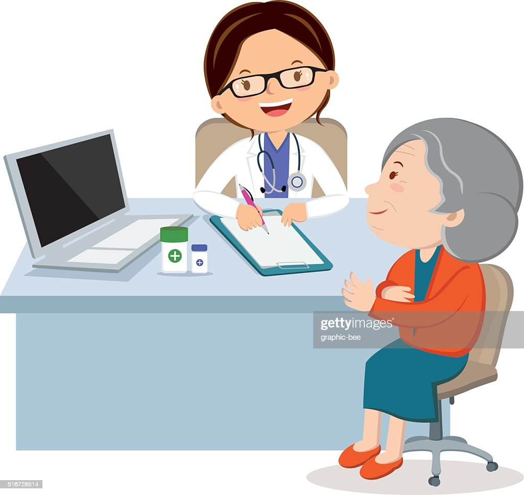 Female doctor with senior woman